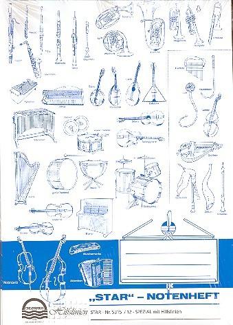 Notenheft DIN A4 12 Systeme hoch mit Hilfslinien 16 Seiten