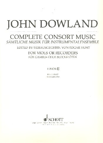 Complete Consort Music for 5 viols (recorders) (SATBB) and Bc tenor (altus clef)