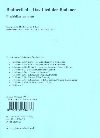 Badner Lied für 5 Blechbläser (Ensemble) Partitur und Stimmen
