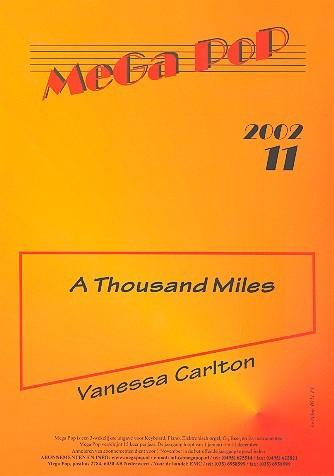 A thousand Miles: Einzelausgabe für Gesang und Klavier mit Akkorden