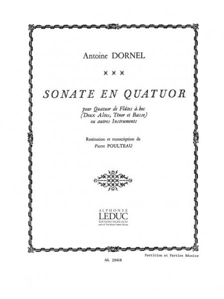 Sonate en quatuor pour 4 flûtes à bec (SATB) ou autres instruments partition et parties