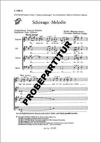 Schiwago-Melodie für gem Chor und Klavier Klavierpartitur